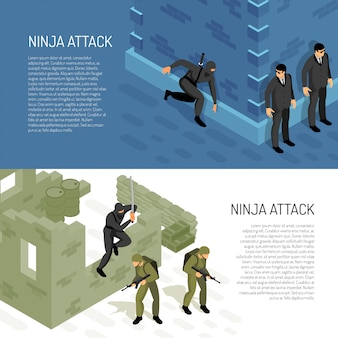 Video games ninja character warrior attacks soldiers and civil agents, horizontal isometric banners vector illustration