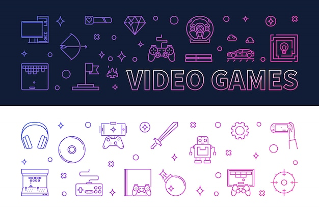 Video games outline colored banners - vector illustration