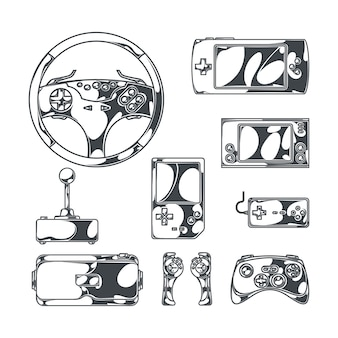 Video games set with sketch style monochrome images of vintage joysticks gamepads and portable gaming devices