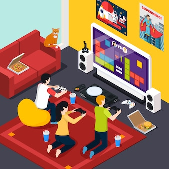 Video gaming isometric composition