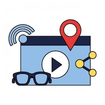Video glasses share pointer social media
