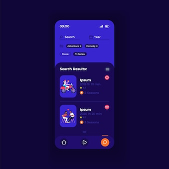 Video hosting application smartphone interface vector template. mobile app page dark design layout. stream browsing menu screen. flat ui for application. internet search results on phone display