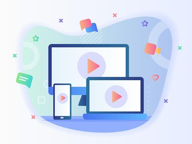 Значок видео на телевизионном компьютере, ноутбуке, смартфоне, концепции экрана онлайн, несколько устройств с плоским векторным дизайном.