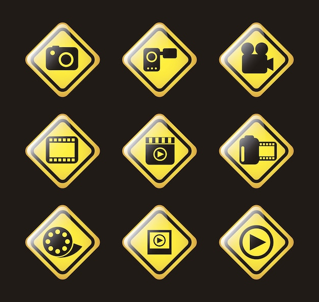 Video icons over black background vector illustration