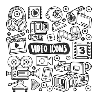 Video icons hand drawn doodle coloring