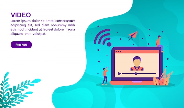 Video illustration concept with character. landing page template