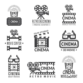 Video labels set, cinema production badges in monochrome style