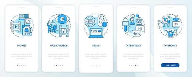 Video for language learning onboarding mobile app page screen with concepts. movies, newspapers, interviews walkthrough  steps. ui  template illustrations