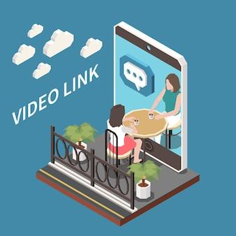 Illustrazione isometrica del collegamento video