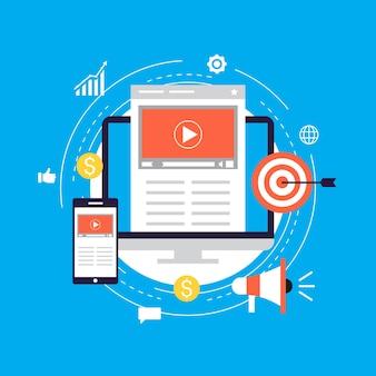 Video marketing campaign, online promotion, digital marketing, internet advertising flat