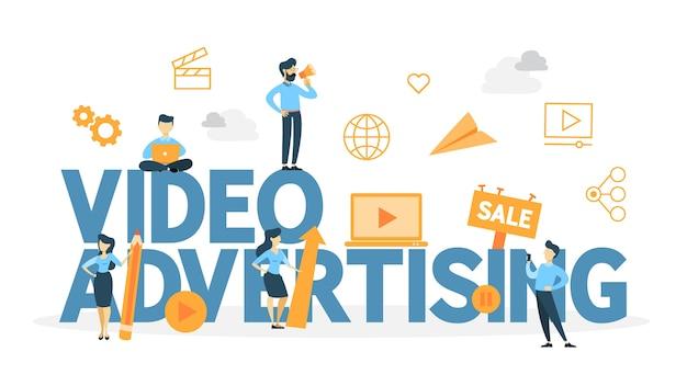 비디오 마케팅 개념. 웹 사이트의 디지털 광고. 영상 블로그를 통한 상품 홍보 및 수익 창출 삽화