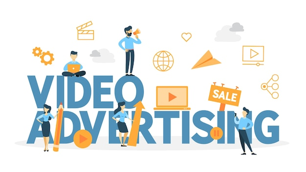 Video marketing concept. digital advertising on the website. product promotion and money making through videoblog.    illustration