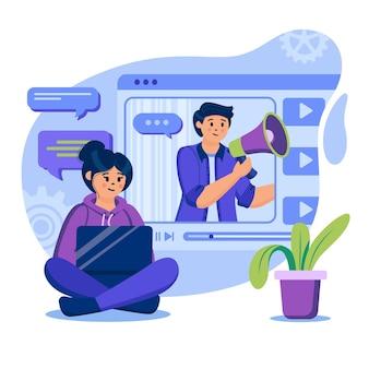 フラットなデザインのキャラクターとビデオマーケティングの概念図