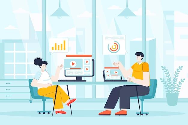 人々のキャラクターのフラットなデザインイラストのビデオマーケティングの概念