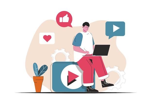 分離されたビデオマーケティングの概念。広告コンテンツの作成、オンラインプロモーション。フラットな漫画のデザインの人々のシーン。ブログ、ウェブサイト、モバイルアプリ、販促資料のベクターイラスト。
