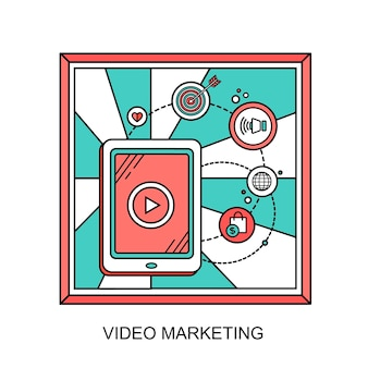 Video marketing concept: showing video on tablet in line style