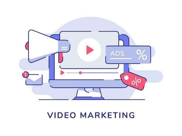 Video marketing concept video icon megaphone on display computer screen with flat outline style