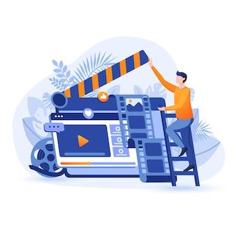 ビデオマーケティングフラットデザインコンセプトイラスト