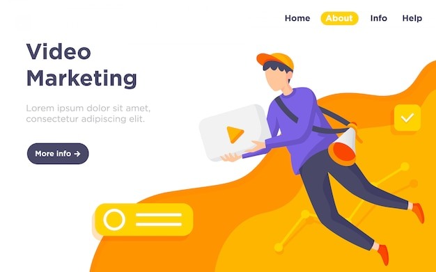 Video marketing illustration landing page