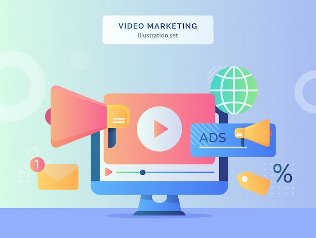 Video marketing illustration set video playing icon on display monitor computer