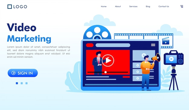 Video marketing landing page website illustration vector