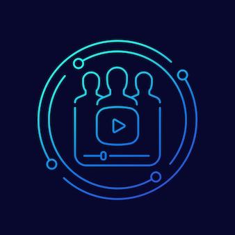 Video marketing line vector icon
