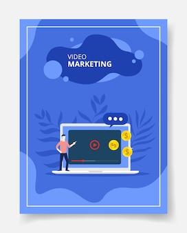 Video marketing men present on laptop
