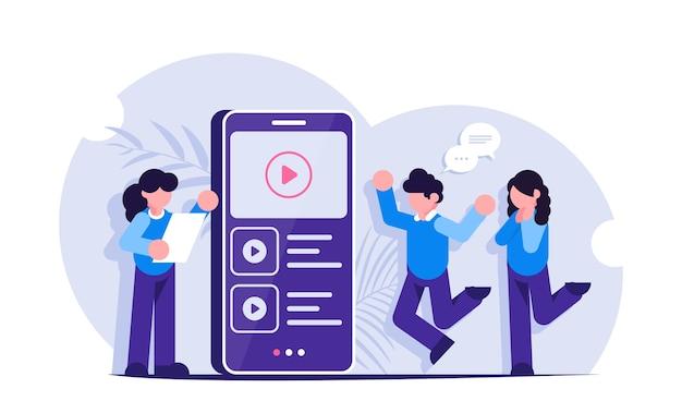 비디오 마케팅. 사람들은 휴대 전화 화면에서 동영상 콘텐츠 또는 광고를 봅니다.