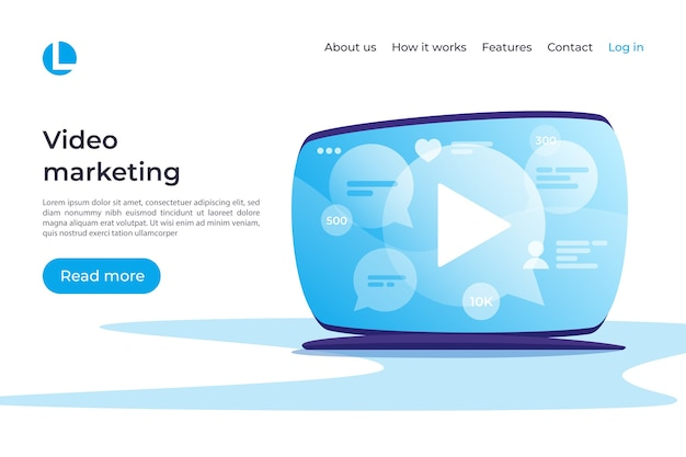 Video marketing, social media, entertainment concept. landing page template. global swatches