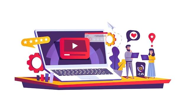 Веб-концепция видеомаркетинга в мультяшном стиле