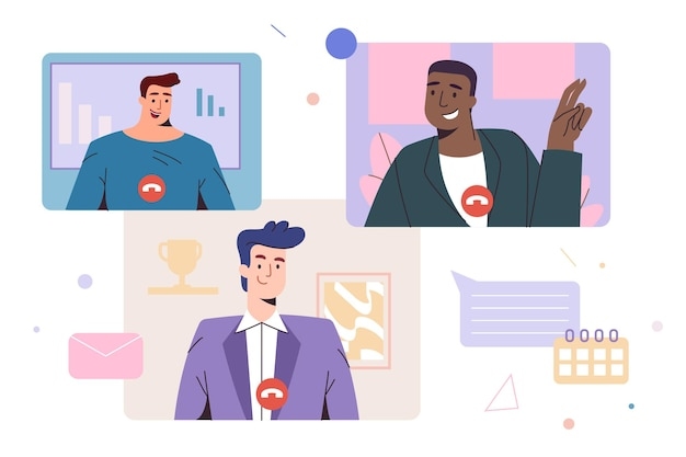 Video meeting of colleagues, friends. remote videoconference or web communication. online discussion, live stream or virtual video conference of employees. work from home jobs flat vector illustration