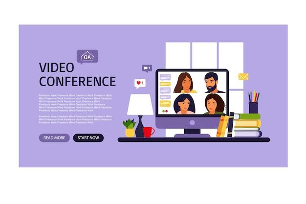 人々のグループのビデオ会議。ビデオ会議によるオンライン会議。ランディングページ。リモートワーク、技術コンセプト。