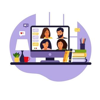 Видео встреча группы людей. онлайн-встреча по видеоконференции. удаленная работа, концепция технологии. в плоском стиле.