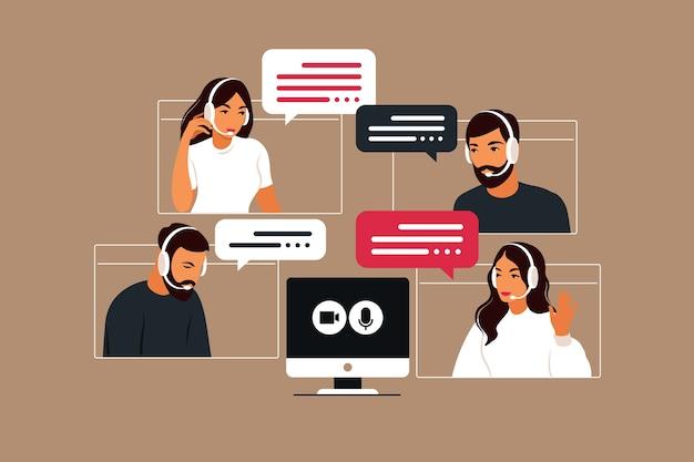 사람들 그룹의 화상 회의. 화상 회의를 통한 온라인 회의. 원격 작업, 기술 개념.