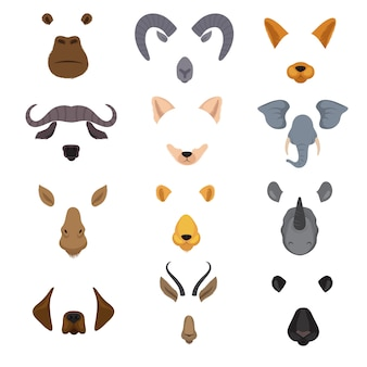 Video mobile chat animal faces. cartoon animals masks isolated vector set
