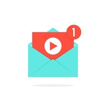편지에 비디오 알림 버튼입니다. 전자 메일, 공유 영화, 채널, 채팅, 라이브 스트림, 수익 창출, 파일, 검색 엔진 최적화의 개념. 흰색 배경에 고립. 플랫 트렌드 현대 로고 디자인 벡터 일러스트 레이 션