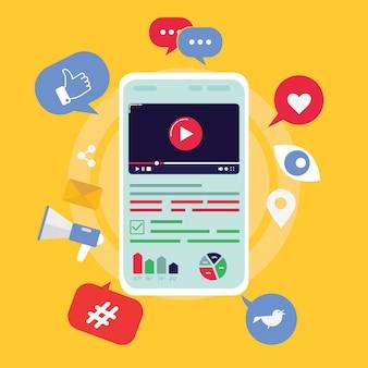 모바일 화면, 비디오 공유 및 요소와 평면 벡터 개념 마케팅 비디오. 비디오 컨텐츠를 만들고 돈을 버십시오.