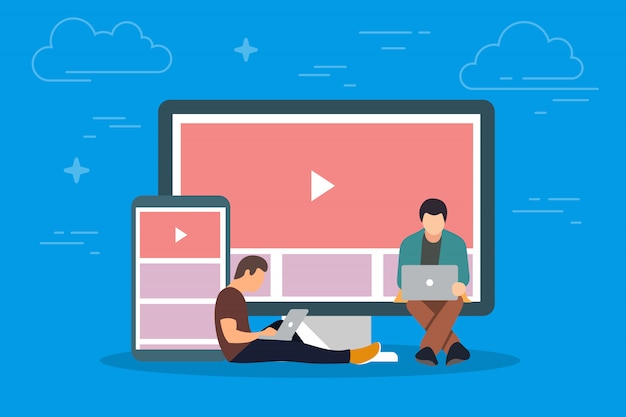 デバイスの概念図のビデオ。タブレットpcやスマートフォンなどのモバイルガジェットを使用してインターネットでビデオを視聴する若者