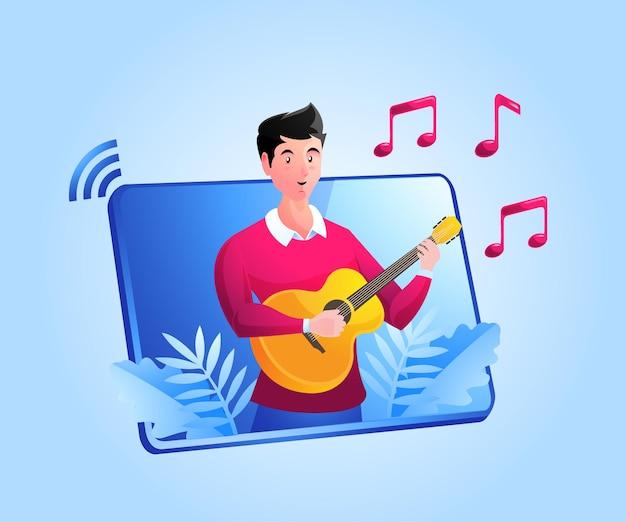ビデオオンライン音楽ギターレッスン