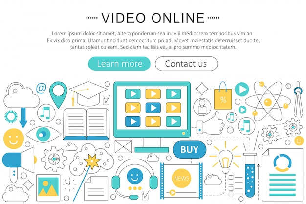 Video online technology flat line concept