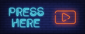 Video play neon style banner. Press here text and start button on brick background.