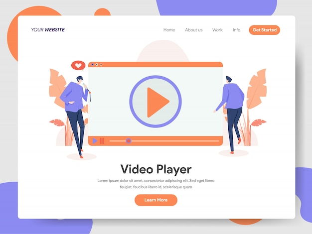 Video player banner of landing page