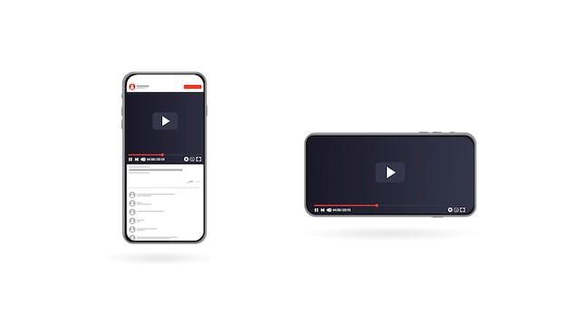 웹 및 모바일 앱 플랫 스타일 벡터 일러스트 레이 션에 대한 비디오 플레이어 디자인 템플릿