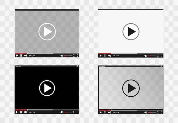 Видеоплеер для веб-приложений и мобильных приложений в плоском стиле.