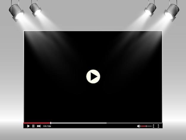 Webおよびモバイルアプリのフラットスタイル用のビデオプレーヤー。