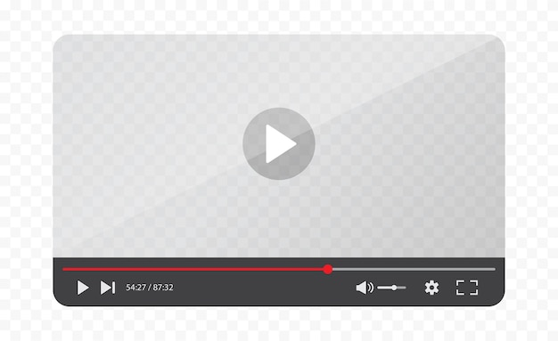 透明な背景に分離されたビデオプレーヤーインターフェイス。ビデオテンプレートのデザイン。