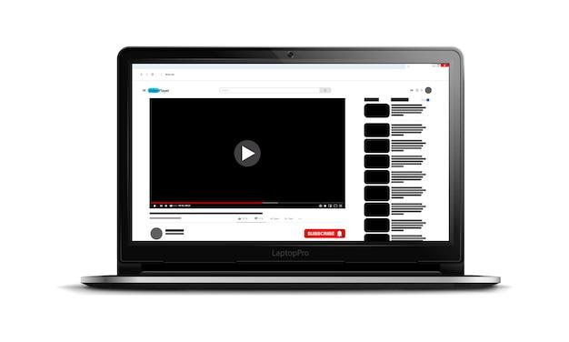 현대 노트북 화면에 비디오 플레이어 인터페이스, 귀하의 사이트에 대한 비디오 플레이어 템플릿, 소셜 미디어 콘텐츠, 현실적인 그림