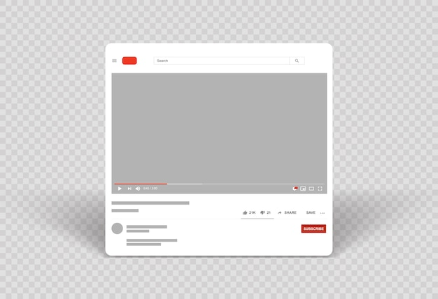 Video player layout template video frame mobile