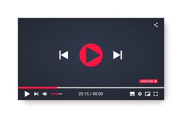Webまたはモバイルアプリ用のビデオプレーヤーテンプレート。 Premiumベクター