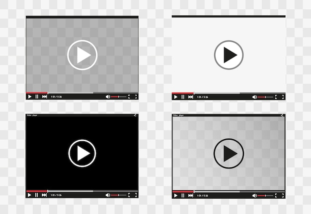 Video player for web and mobile apps flat style.